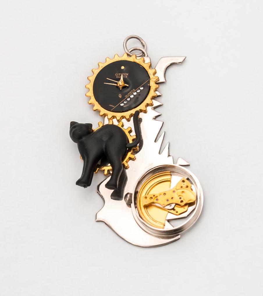 Black cat - zilver - hanger | Sieraad - Belinda Brama