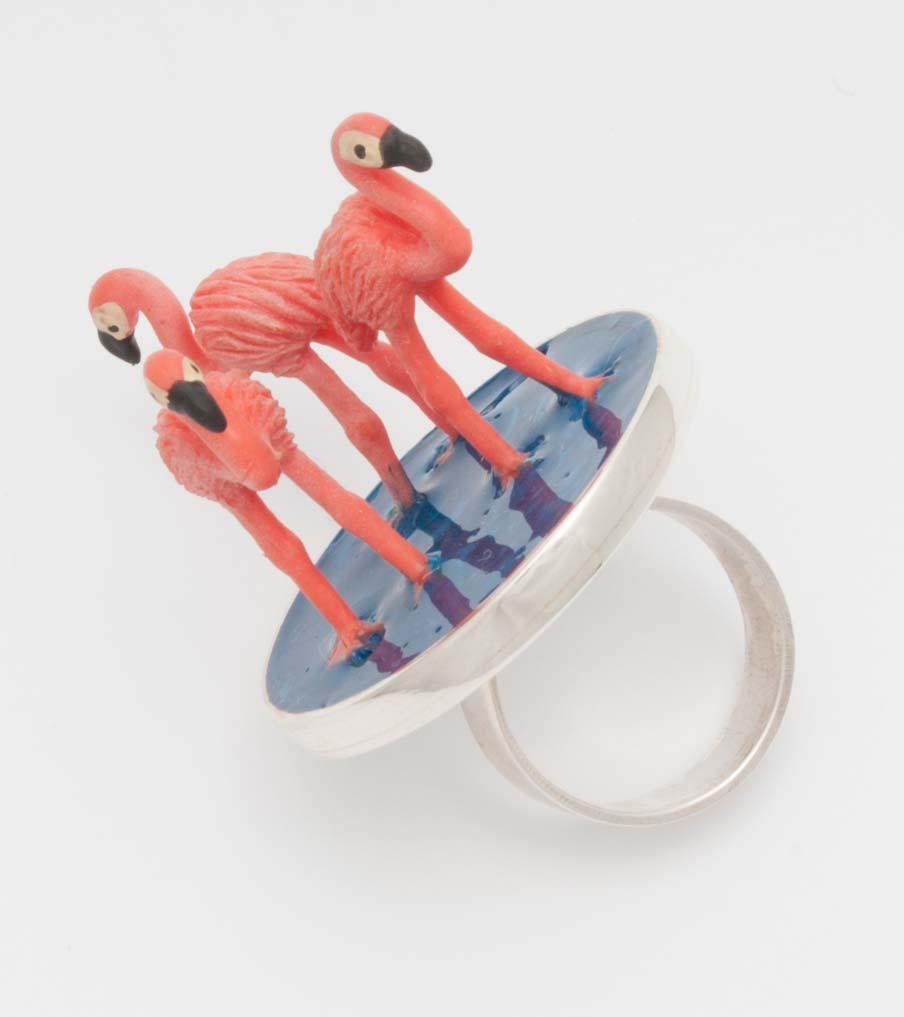 Flamingos ring gekanteld | Sieraad - Belinda Brama