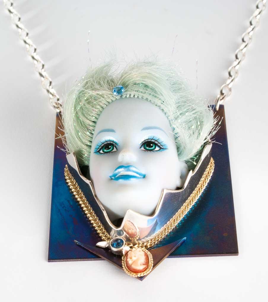 Barbie blue - zilver + titanium - hanger + ketting | Sieraad - Belinda Brama