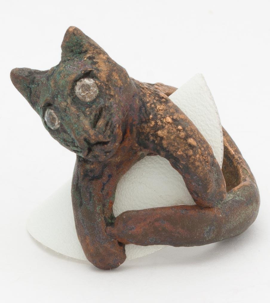 Brons kat met zirkonias ring | Sieraad - Belinda Brama