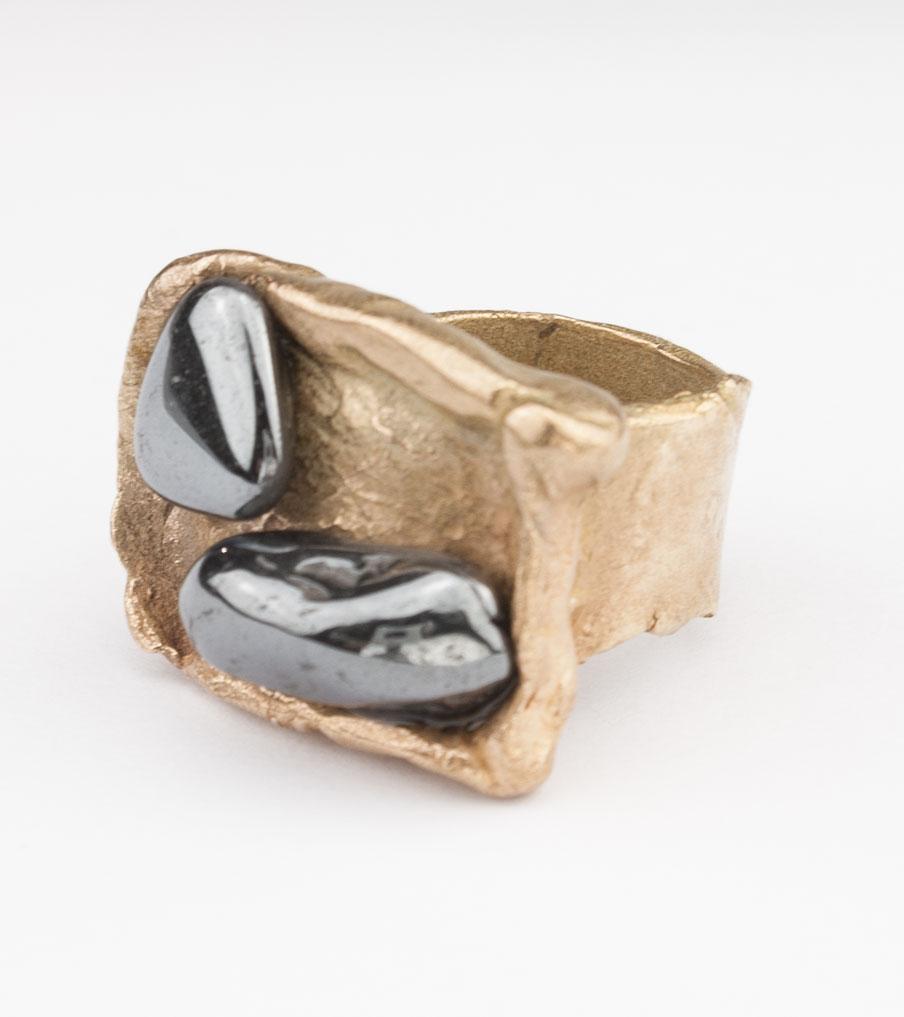 2 Zwarte stenen - brons - ring | Sieraad - Belinda Brama