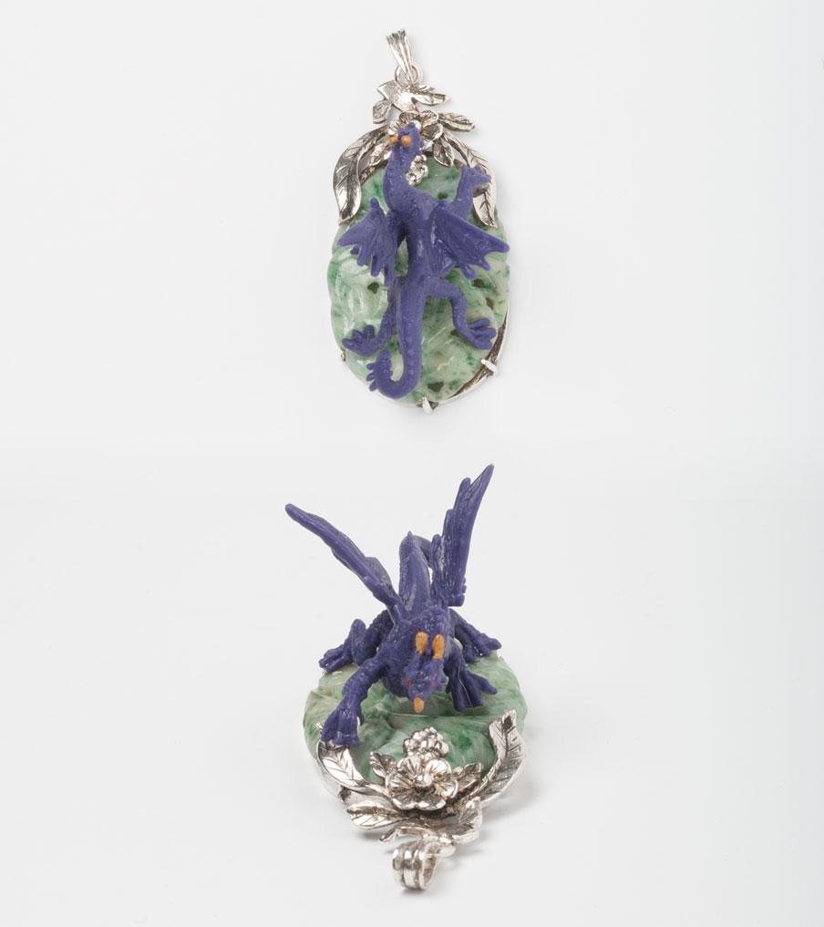 Paarse draak op groen hanger | Sieraad - Belinda Brama