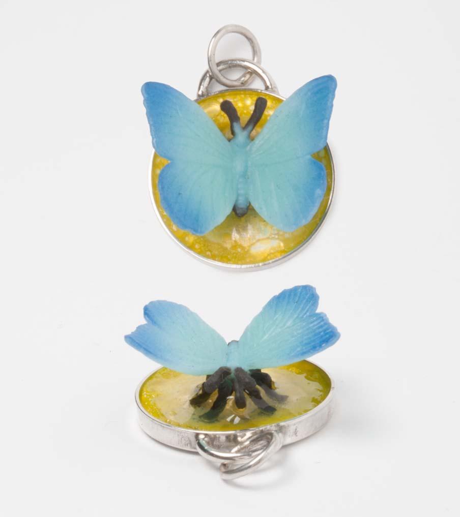 Vlinder in geel - hanger | Sieraad - Belinda Brama