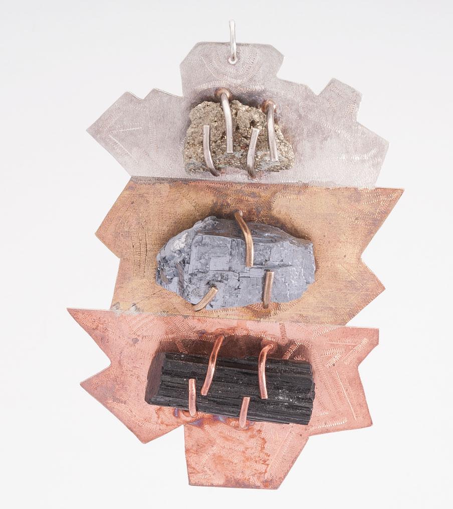 Hanger zilver, messing en koper | Sieraad - Belinda Brama