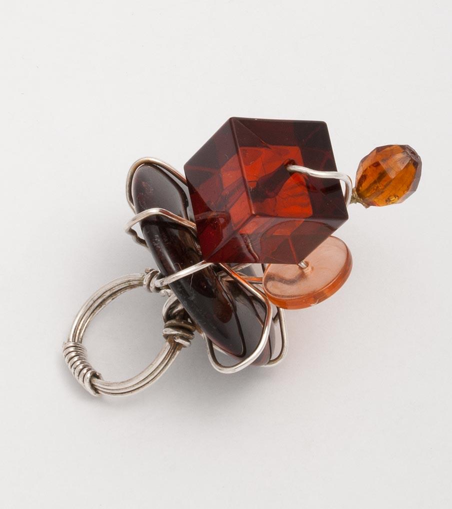 Steenglas - plastic wirewrapping - ring | Sieraad - Belinda Brama